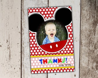 Mickey Mouse Thank You Cards with Photo - red polka dots