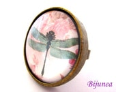 Dragonfly ring - Pink Dragonfly  ring - Adjustable Dragonfly  ring - Solid Dragonfly  ring - Insect Dragonfly ring r777