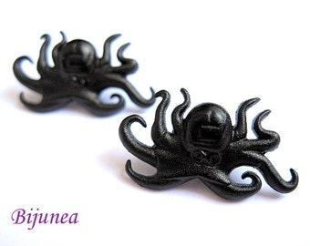 Octopus earrings Octopus studs Black octopus stud earrings Octopus posts Octopus post earrings sp207
