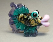 Designed by Artist Shelley Cole Lampwork Fishie Pendant with All Sterling Wire  SRAJD