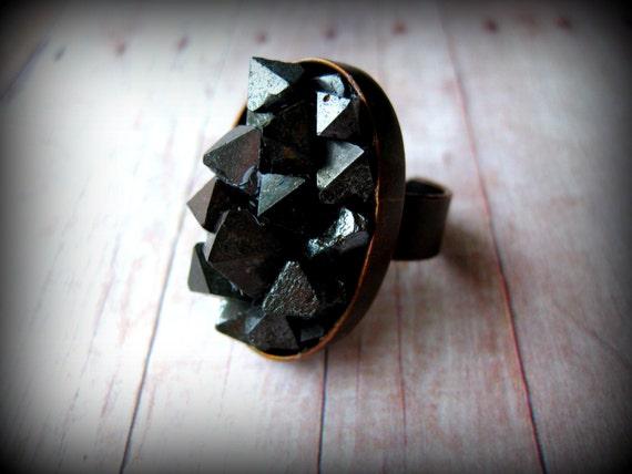 ROCKmyWORLD - Magnetite Stone Cocktail Ring on Adjustable Natural Brass Band Boho Glam Rock  Cocktail Rock Candy