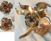 Floral Brooch and Earrings Set - Sterling SIlver 10K Gold Filled