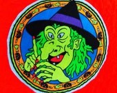 Cut and sewn vintage neon Witch patch Halloween applique