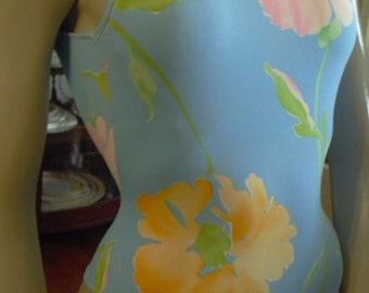 Ralph Lauren blue Floral Bathing Suit Size 8