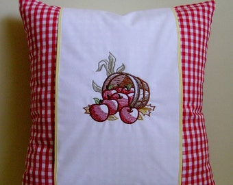 Embroidered Pillow, Embroidered Bushel of Apples Pillow, Pillow Wrap, Throw Pillow, Decorative Pillow