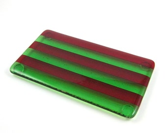 Christmas Spoon Rest - Red and Green Striped Spoon Rest - Fused Glass Holiday Spoon Rest