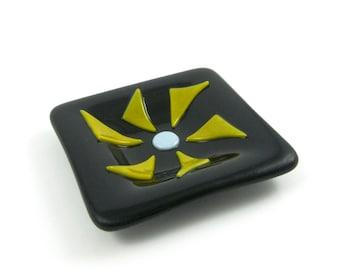 Small Glass Ring Dish, Black Flower Glass Dish, Mini Glass Dish