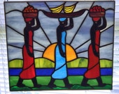 Tribal Gatherers Stained Glass Panel