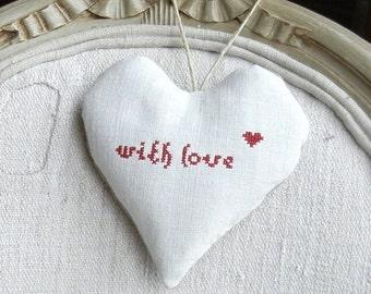 Antique Linen Heart Sachet - With Love - Valentine