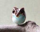 Aqua Tummy Ceramic Owl Bead