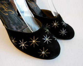 1950s shoes / Your A Star Vintage 50's Sling Back Jeweled Shoes Heels