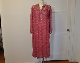 boho dress / Vintage 1970's Boho Beaded Hippie India Silk Dress