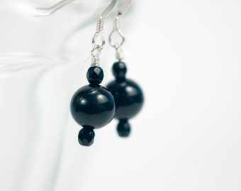 black bead earring