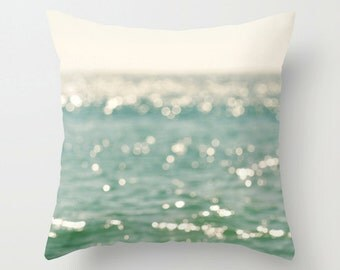 peppermint blue throw pillow cover, beach pillow cover, bokeh, white, abstract, beach photography, coastal nautical decor 20x20