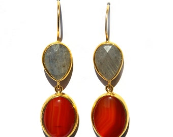 Orange Agate and Grey Labradorite Stones Earring