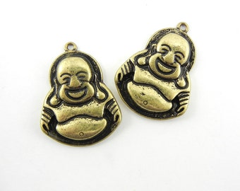 Pair of Antique Gold-tone Laughing Buddha Charms