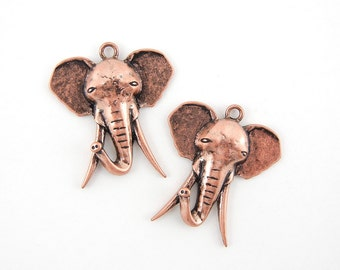 Pair of Antique Copper-tone Elephant Head with Long Tusks Charms