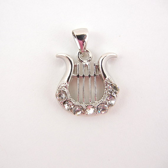 Lyre Musical Instrument Charm Silver-tone and Rhinestones