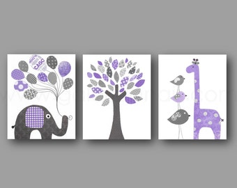 Purple and gray Baby nursery art nursery wall art nursery print kids art elephant tree Birds Giraffe Set of three prints