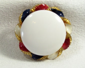 Red White Blue Enamel Gold Tone Button Style Clip Earrings Vintage 80s