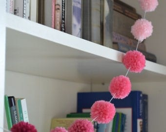 Yarn Pom Pom Garland Banner - The Poppy : Ombre Pink Mini - Baby Girl Nursery, Party, Home Decor!