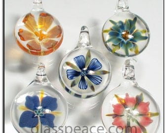 Glass Flower Pendants lampwork focals necklace beads - Glass Peace glass jewelry (6168)