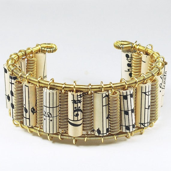 Guitar String Bracelet- Sheet Music Paper Bead Jewelry, Brass Cuff Bracelet, Musician Gift, Music Jewelry, Guitar String Jewelry