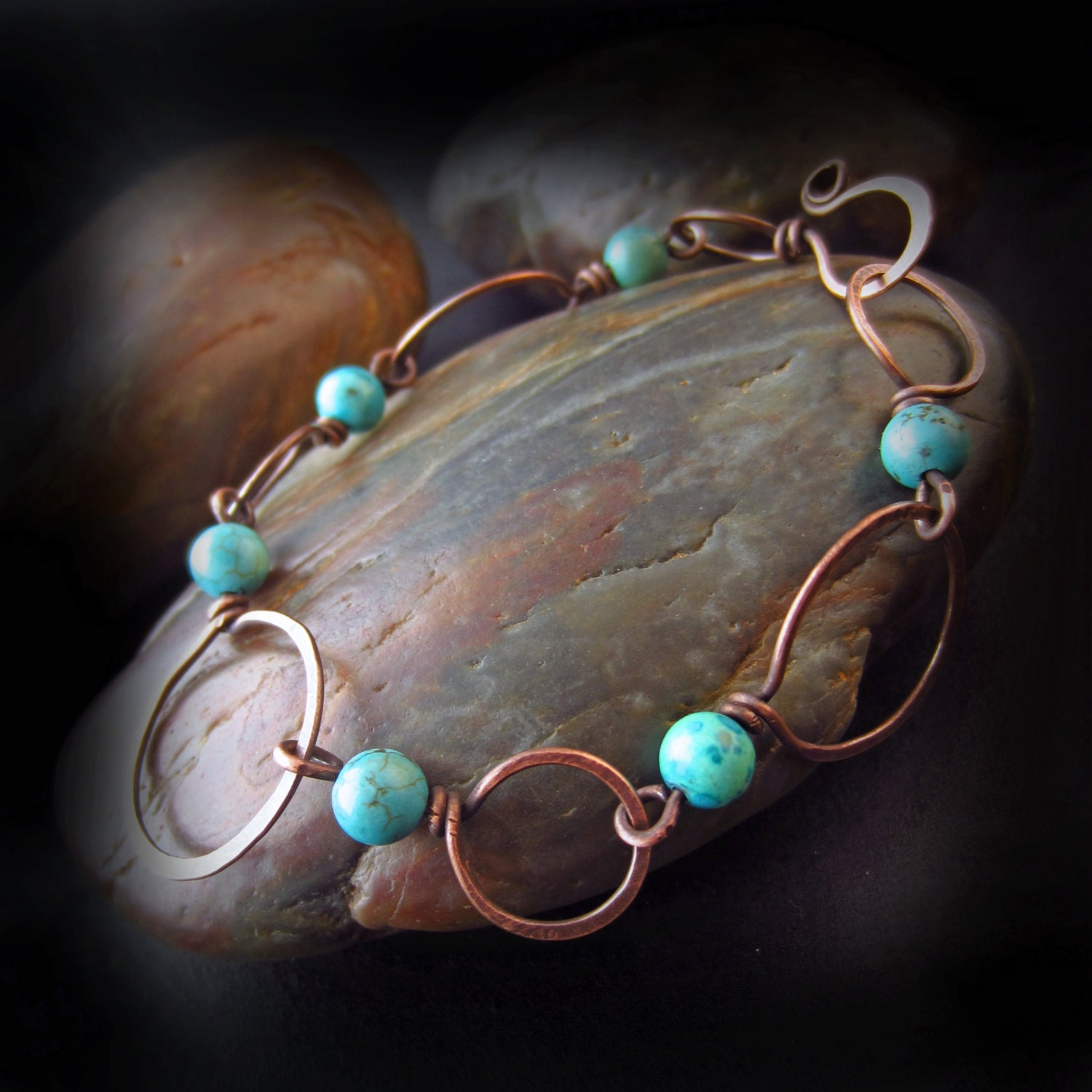 Wire Bracelets With Charms: Rustic Turquoise And Copper Bracelet Wire Wrapped Jewelry