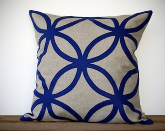 20in Cobalt Geometric PILLOW COVER in Natural Linen by JillianReneDecor | Designer Home Decor | Indigo | Monaco Blue | Dazzling Blue