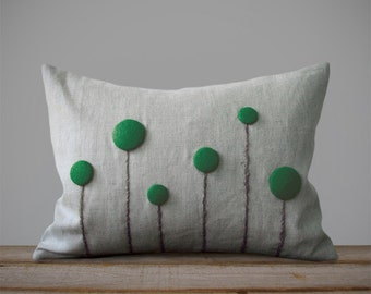 Emerald Green Billy Ball Flower Pillow in Natural Linen by JillianReneDecor Craspedia Billy Button Decorative Home Decor Gift for Her Kelly