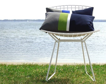 OUTDOOR Colorblock Pillow Cover (Custom Colors) - Modern Beach Decor by JillianReneDecor - Gray, Green, White & Navy - Summer Patio Decor