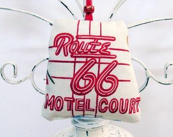 Route 66 Motel Court Ornament - Sachet / Red & White / Neon Sign - Retro Kitsch / Fragrant Sachet / Fun Gift Under 20