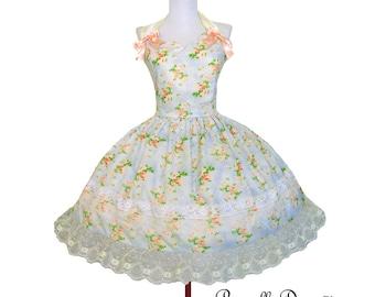 Lovely Lolita Dress Cupcake Dress Pink Bow Dress Halter Style Rockabilly Sky Blue Teaparty Dress