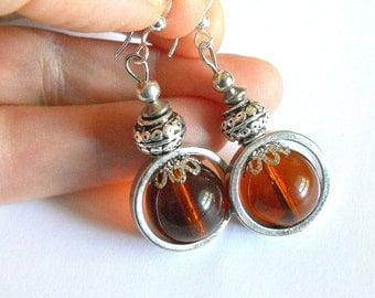 Boho earrings, amber glass earrings, silver link earrings, drop earrings, funky jewelry, amber glass jewelry, bohemian jewelry