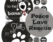 Instant Download Dogs Rule (2 inch round) Bottlecap Images Digital Collage Sheet - Printable sticker magnet funny dog images animal rescue