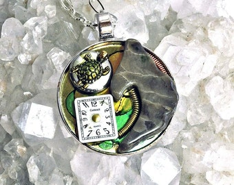 Michigan Petoskey stone art pendant necklace steampunk with vintage watch parts one of a kind
