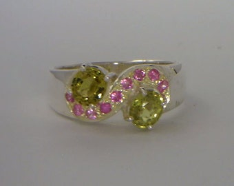 Mali Garnet and Pink Sapphire Handmade Sterling 925 Silver Ladies Ring size 6.25