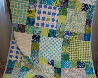 Scrappy Aquas, Blues and Greens Baby Girl or Toddler Quilt