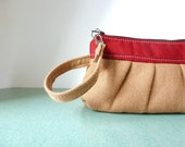 Wristlet clutch in Cranberry Red with Brown Burlap Linen - Wrist Wallet