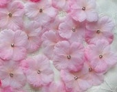 36 pc pink baby Hydrangea boutique petal flowers with rhinestone centers