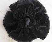 BLACK Velvet Ribbon Rose Fabric Flower Applique Hat Pin Baby Pageant Bridal Hair Accessory Applique
