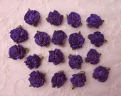 18 pc PURPLE Rose Satin Ribbon Fabric Flower Applique DIY Bridal Wedding Baby Doll Carnation Cabbage Rose Bow #1 color