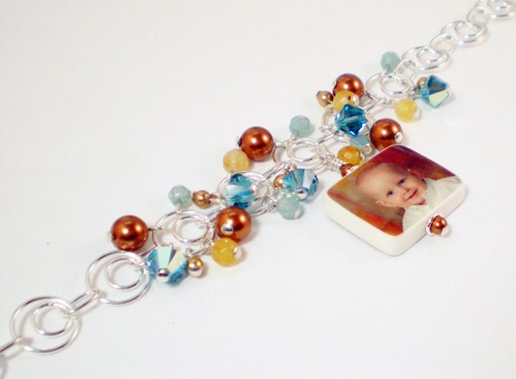 Custom Photo Charm Bracelet with dangles of crystals, gemstones and pearls - P3B6a