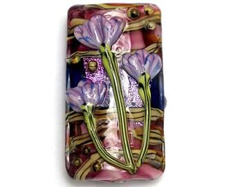 Pink w/Purple Floral Kalera Focal Bead 11804203 - Handmade Glass Lampwork Bead
