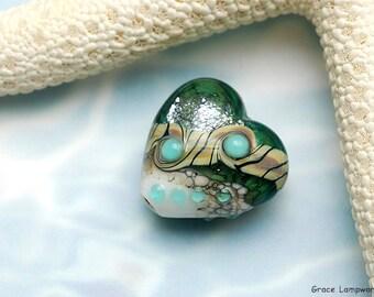 Mint Stardust Heart Focal Bead - Handmade Glass Lampwork Bead -11831605