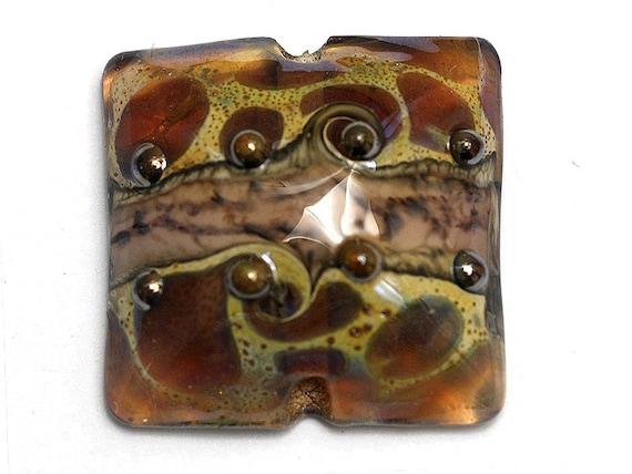Glass Lampwork Bead - Dark Amethyst w/Silver Foil Pillow Focal Bead 11814004
