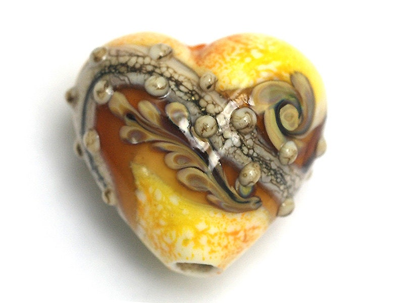 Safari sunset heart 11808805 handmade glass lampwork bead - Safari murano jewelry ...