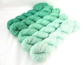 Gradient Yarn Kit, Hand Dyed Merino Wool, Lilt Sock - Mint