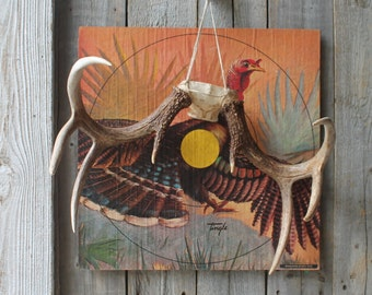 Large Vintage Turkey Target, Paper and Cardboard Wall Art. 18 Inches x 18 Inches, Woodland Rustic Hunting