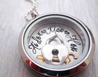 Keys to my Heart Locket - Mothers Necklace- Mom Charm Locket - Floating Charm Locket